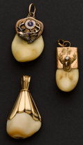 Estate Jewelry:Other , Three Gold Cap Elk's Tooth Fobs. ... (Total: 2 Items)