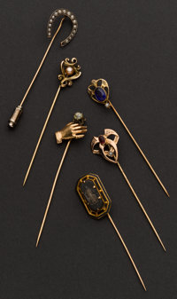 Six Antique Gold Stick Pins