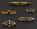 Estate Jewelry:Brooches - Pins, Five Vintage Gold Pins. ... (Total: 5 Items)