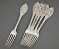 Silver Flatware, American:Other , A SET OF SIX MORCH SILVER DINNER FORKS IN THE MEDALLION PATTERN .J. Morch, American, circa 1870. Marks: J. Morch. 7-3/4...(Total: 6 Items)