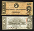 Confederate Notes:1864 Issues, T59 $10 1863. T70 $2 1864.. ... (Total: 2 notes)