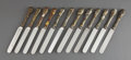 Silver Flatware, American:Other , A SET OF TWELVE MIXED METAL KNIVES . Blades by Landers, Frary &Clark, New Britain, Connecticut, circa 1870. Marks: J.E. C...(Total: 12 Items)