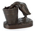 Bronze:European, PATINATED BRONZE MATCH HOLDER WITH DUCK AND BUCKET AFTER ISIDORE JULES BONHEUR . After Isidore Jules Bonheur, French, circa ...