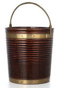 Paintings, IRISH REEDED MAHOGANY AND COPPER PEAT BUCKET WITH COPPER LINER . Early 19th century. 16-1/4 inches high (41.3 cm). ...