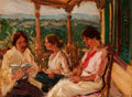 Fine Art - Painting, American:Modern  (1900 1949)  , THERESA BERNSTEIN (American, 1890-2002). On the Terrace,1914. Oil on board. 9 x 12 inches (22.9 x 30.5 cm). Signed and ...