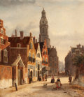 Paintings, JOHN FREDERIK HULK (Dutch, 1855-1913). Cityscape in Amsterdam. Oil on canvas. 22-1/2 x 18-1/2 inches (57.2 x 47.0 cm). S...