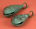 American Indian Art:Pottery, Two Large Aztec Copper Bells...