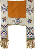 American Indian Art:Beadwork and Quillwork, A SIOUX BEADED HIDE SADDLE THROW. c. 1910...