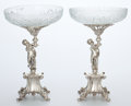 Art Glass:Other , Whoopi Goldberg Collection. PAIR OF SILVER-PLATED AND FROSTEDCUT-GLASS COMPOTES . Early 20th century. Marks: (crown)... (Total:5 Items)