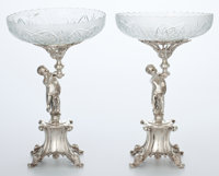 Whoopi Goldberg Collection  PAIR OF SILVER-PLATED AND FROSTED CUT-GLASS COMPOTES Early 20th Cent