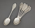 Silver Flatware, American:Wood & Hughes, A SET OF SIX WOOD & HUGHES SILVER TEASPOONS . Wood &Hughes, New York, New York, circa 1870. Marks: W&H,STERLING . 6 in... (Total: 6 Items)