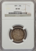 Seated Quarters: , 1891 25C XF45 NGC. NGC Census: (4/547). PCGS Population (9/604).Mintage: 3,920,600. Numismedia Wsl. Price for problem free...