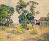 HOMER GORDON DAVISSON (American, 1866-1957) Landscape with Barn Oil on canvas 25-1/2 x 30-1/2 inc