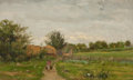 Paintings, AMERICAN SCHOOL (19th Century). Corner of the Farm, circa 1870-80. Oil on canvas. 9-1/2 x 16 inches (24.1 x 40.6 cm). Si...
