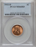 Lincoln Cents: , 1932-D 1C MS66 Red PCGS. PCGS Population (196/6). NGC Census: (158/28). Mintage: 10,500,000. Numismedia Wsl. Price for prob...