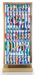 Glass, YAACOV AGAM (ISRAEL, B. 1928) SILKSCREEN ON MOVABLE ACRYLIC GLASS IN BRASS FRAME: IL SHALOM WINDOW . 27-3/4 inches h...