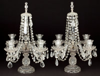 PAIR OF CUT-GLASS FOUR LIGHT CANDELABRA 20th century 20 inches high (50.8 cm)