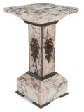 Furniture , NEOCLASSICAL STYLE GILT METAL MOUNTED VARIEGATED MARBLE PEDESTAL. France, 20th century . 32-1/2 x 18 x 18 inches (82.6 x 45....