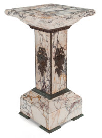 NEOCLASSICAL STYLE GILT METAL MOUNTED VARIEGATED MARBLE PEDESTAL France, 20th century 32-1/2 x 18 x 18 inches