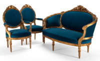 LOUIS XVI STYLE GILT WOOD AND UPHOLSTERED SETTEE AND TWO FAUTEUILS France, 20th century 41 x 63 x 27 inches (