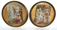TWO ROYAL VIENNA STYLE PORCELAIN CHARGERS DEPICTING CLASSICAL FIGURES IN A GARDEN SETTING Austria, late 20th cent
