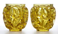 Glass, PAIR OF LALIQUE YELLOW GLASS VASES: TOURBILLONS. France, post 1945. Engraved: Lalique France, 120/999. 8-1/4 inc...