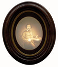 Military & Patriotic:Indian Wars, Rare Oval Framed Lithophane Portrait of Col. Samuel Colt...