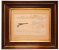 Military & Patriotic:Indian Wars, Rare Framed Colt Factory Bifolium Circular Picturing Colt Dragoon Revolver, c. Early 1850s...
