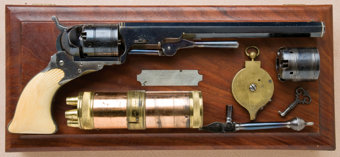 Featured item image of Exceptional, Rare and Fine Cased and Shell Carved Ivory-Gripped Texas or Holster Model No. 5 Paterson Revolver, with 9-inch Barrel and Attached Loading Lever