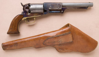 """Featured item image of Fine and Exceptional Colt Walker Model Civilian Series Revolver, with Period Flap Leather Holster, Known as the """"The Thumbprint Walker"""""""
