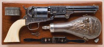 "Featured item image of Historic Cased, Gustave Young-Engraved and Ivory-Gripped Colt Third Model Dragoon Revolver, Inscribed ""Colonel P.M. Milliken""..."