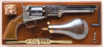 Featured item image of Fine and Exceptional Cased and Engraved Colt Model 1851 Squareback Navy or Belt Model Revolver...
