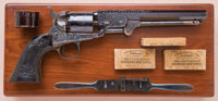 Fine and Exceptional Cased, Engraved and Relief Carved and Checkered Ebony-Gripped Colt Model 1851 Navy Revolver, Known...