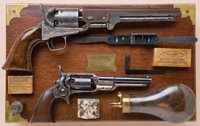 Cased, Inscribed and Custom Made Set of Colt Model 1851 Navy and Model 1855 Pocket Sidehammer Revolvers, Property of Lor...