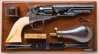 Exceptional and Fine Cased, Engraved and Carved Ivory-Gripped Colt Model 1862 Police Model Revolver