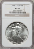 Modern Bullion Coins: , 1986 $1 Silver Eagle MS70 NGC. NGC Census: (1039). PCGS Population(3). Mintage: 5,393,005. Numismedia Wsl. Price for probl...