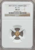 California Fractional Gold: , 1859 25C Liberty Octagonal 25 Cents, BG-701, Low R.6, MS63 NGC. NGCCensus: (2/0). PCGS Population (8/9). (#10528)...