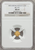 California Fractional Gold: , 1872 25C Indian Octagonal 25 Cents, BG-791, R.3, MS64 NGC. NGCCensus: (14/6). PCGS Population (93/17). (#10618)...