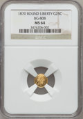 California Fractional Gold: , 1870 25C Liberty Round 25 Cents, BG-808, R.3, MS64 NGC. NGC Census:(10/18). PCGS Population (61/66). (#10669)...