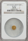 California Fractional Gold: , 1870 25C Liberty Round 25 Cents, BG-833, Low R.6, AU58 NGC. NGCCensus: (1/3). PCGS Population (5/10). (#10694)...
