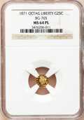 California Fractional Gold: , 1871 25C Liberty Octagonal 25 Cents, BG-765, R.3, MS64 ProoflikeNGC. NGC Census: (5/1). (#710592)...