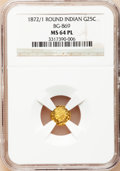 California Fractional Gold: , 1872/1 25C Indian Round 25 Cents, BG-869, Low R.4, MS64 ProoflikeNGC. NGC Census: (11/5). (#71073...