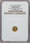 Alaska Tokens, 1911 1/2 Alaska Gold, Parka Head Series MS65 NGC. 10.7 mm, 0.50 gm. M.E. Hart. Gould-Bressett 176....