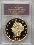 "S.S.C.A. Relic Gold Medals, 1855 $50 SSCA Relic Gold Medal ""1855 Kellogg & Co.Fifty"" Gem Proof PCGS...."