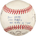 Baseball Collectibles:Balls, Players with 200 Hits, 100 RBI and 40 HRs in a Season Multi SignedBaseball....