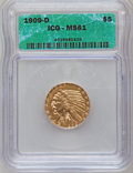 1909-D $5 MS61 ICG. NGC Census: (475/27914). PCGS Population (1100/26020). Mintage: 3,423,560. Numismedia Wsl. Price for...