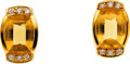 Estate Jewelry:Earrings, Citrine, Diamond, Gold Earrings, H. Stern. ...