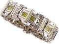 Estate Jewelry:Bracelets, Gentleman's Colored Diamond, Diamond, White Gold Bracelet. ...