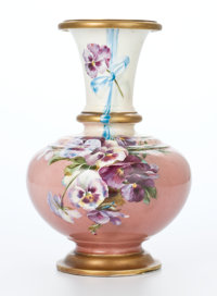 AN ALEXANDER II IMPERIAL RUSSIAN PORCELAIN VASE DECORATED WITH PANSIES Circa 1855-1881 Marks: (crown with ciph