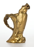 Fine Art - Sculpture, American:Modern (1900 - 1949), GEORGES FLAMAND (FRENCH, 1862-1940) GILT METAL WALRUS-FORM PITCHER. Early 20th century . Marks: DU. 9-1/2 inches high (...